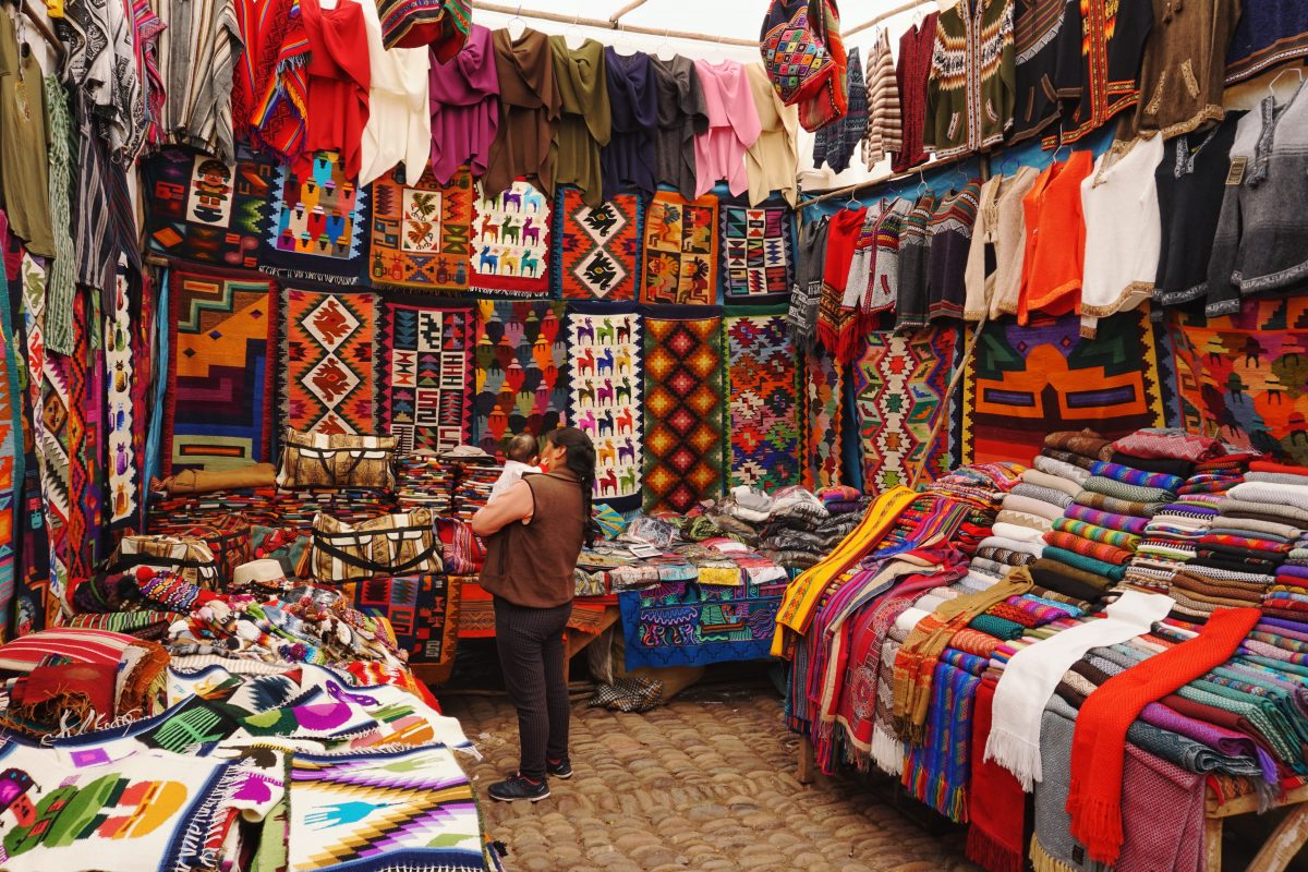 Peruvian colourful textile shop in Cusco Peru