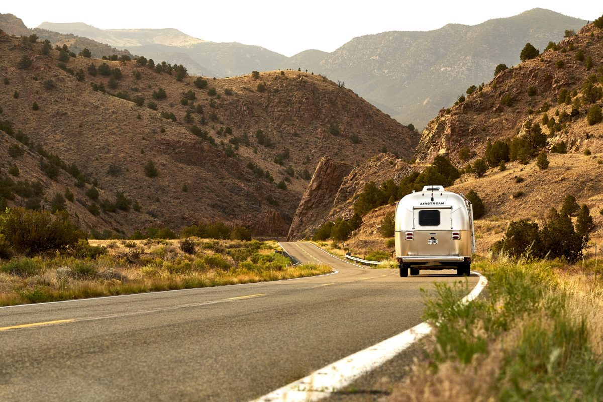An RV road trip on a sunny day