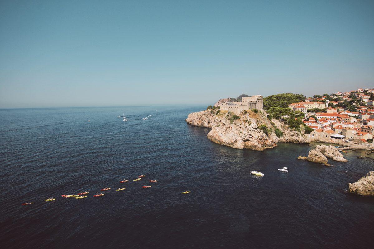Evening kayak at Dubrovnik sea