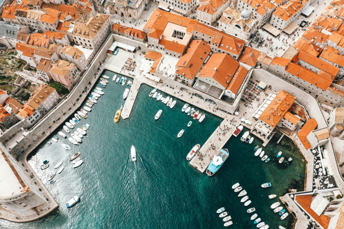 Aerial view City Walls surrounding Dubrovnik city