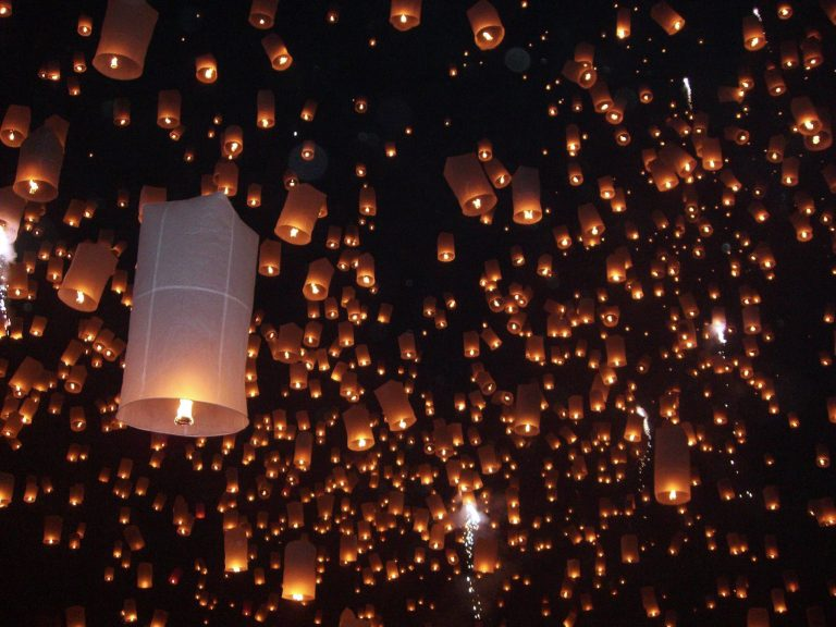 Beautiful lantern festival in Chiang Mai, Thailand