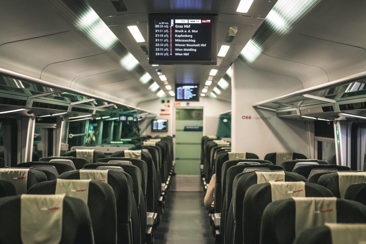 Highspeed train from Vienna to Salzburg, Austria
