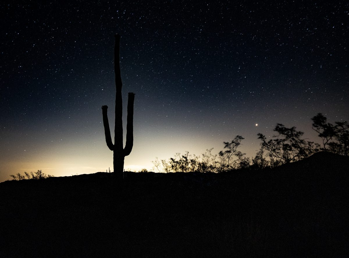 Night starry view while hiking in Tucson, Arizona