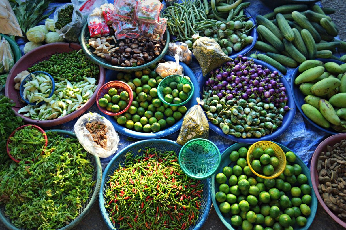 Tcolourful vegetables market in Chiang Mai, Thailand