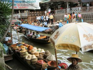 Hats on a floating market