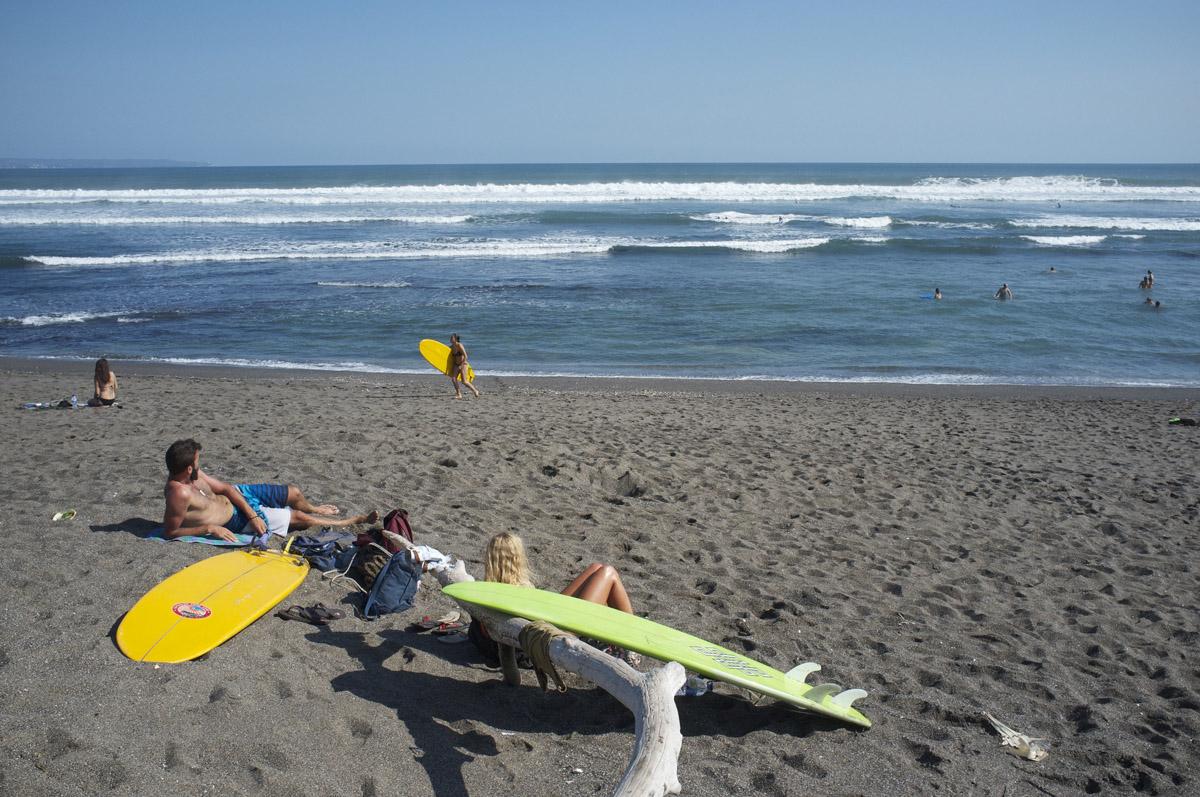 Surfing in Canggu beach