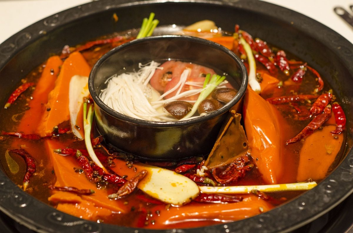 Chinese hot pot with broth