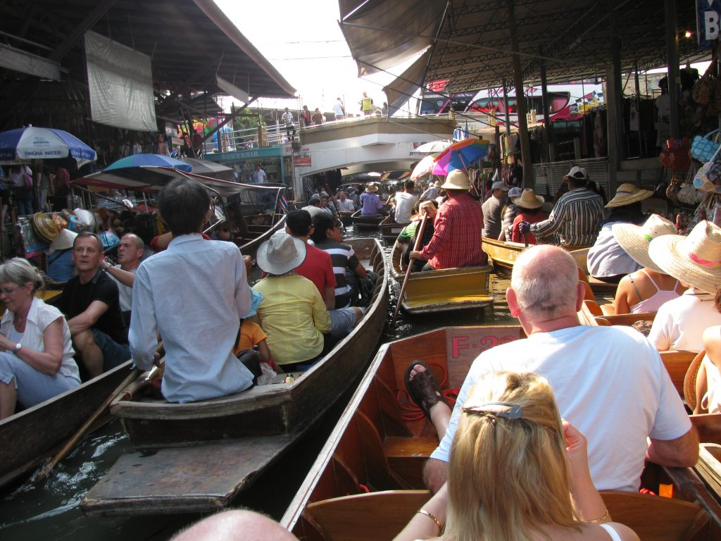 Crowded floating market