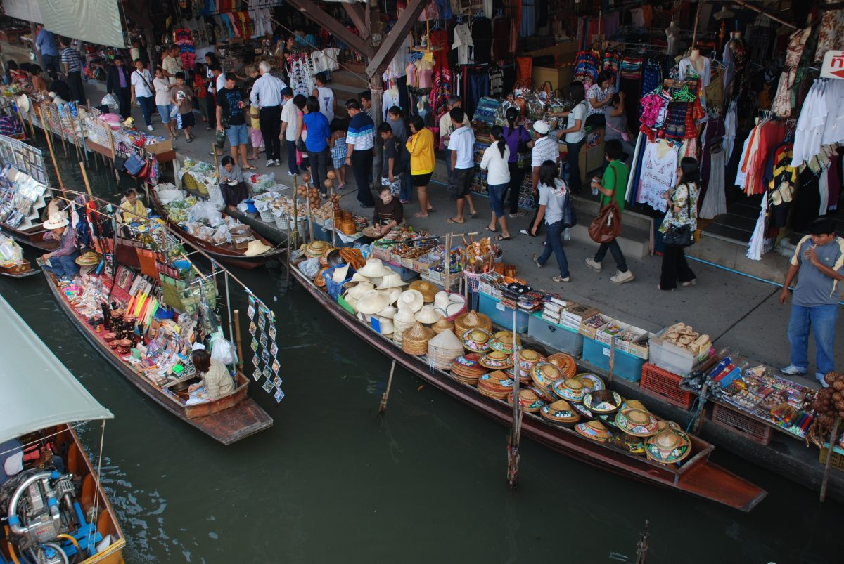 Crowded floating market in Thailand