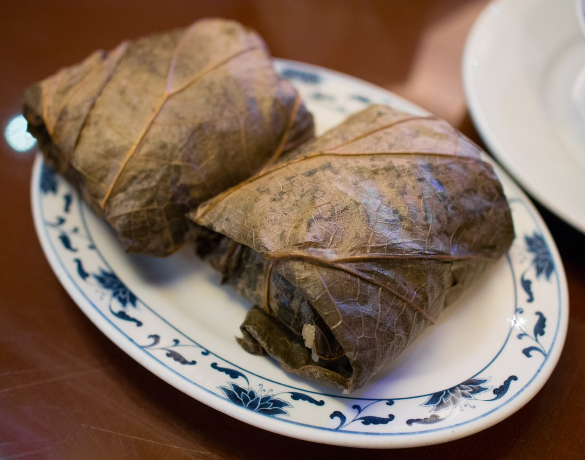 Dim Sum, Lo Mai Gai, Sticky Rice with Chicken in a Lotus Leaf