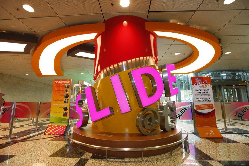 12-meter high slide at Singapore Airport