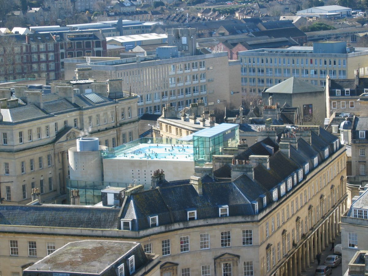 Aerial view of Thermae Spa in Bath, UK