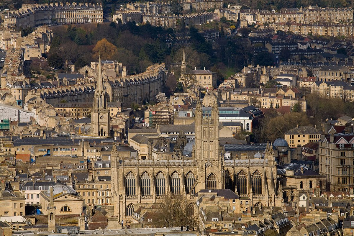 Aerial view of Bath, Somerset, England