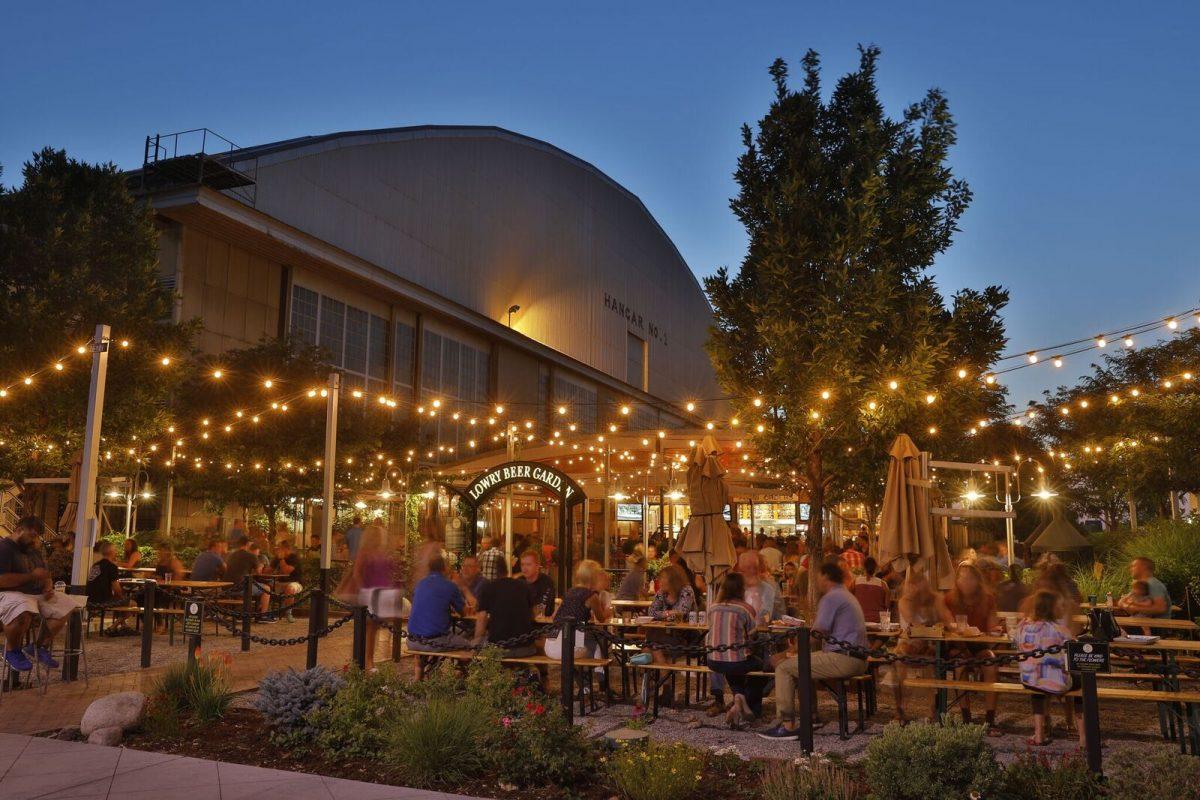 Outdoor beer garden at Lowry Denver, Colorado