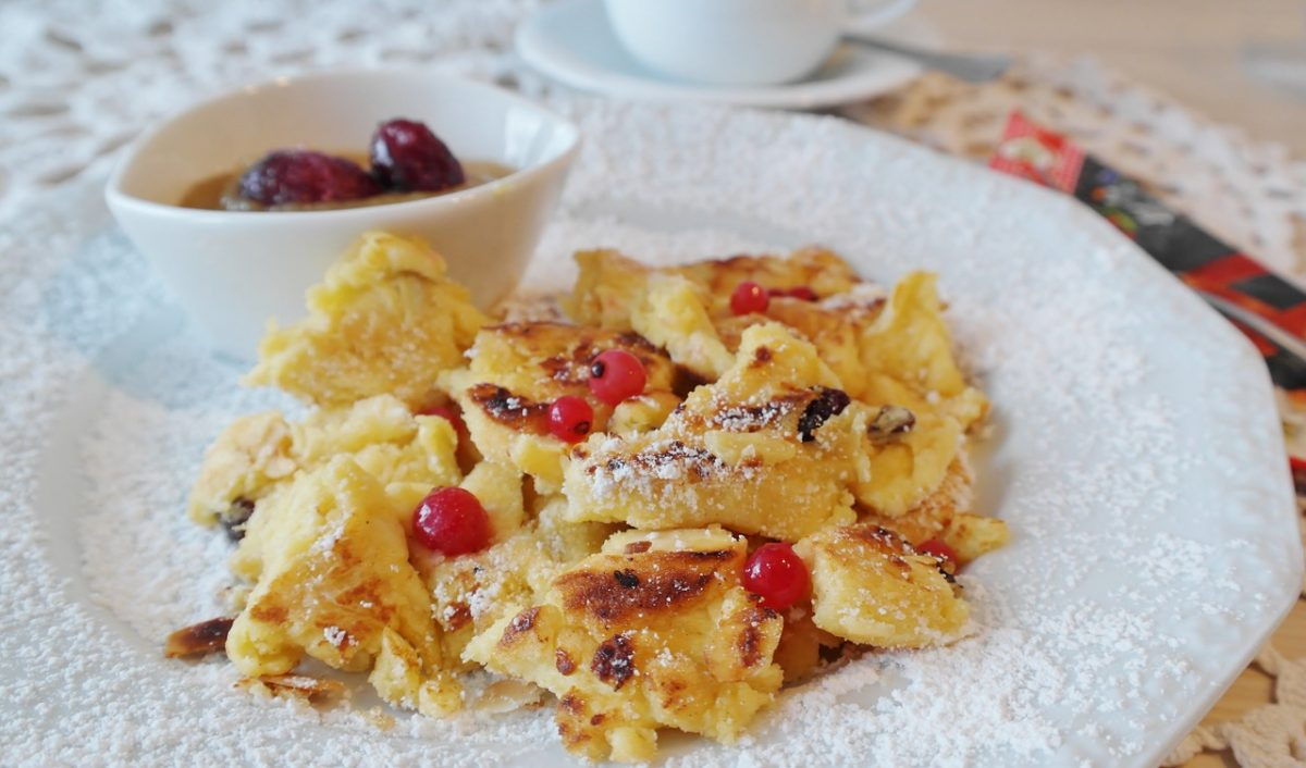 Chopped up fluffy pancakes in a dish