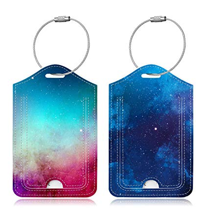 Famavala 2x Luggage Tags [Labels with Privacy Cover] For Travel Bag Suitcase