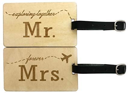 Mr & Mrs Wooden Luggage Tags
