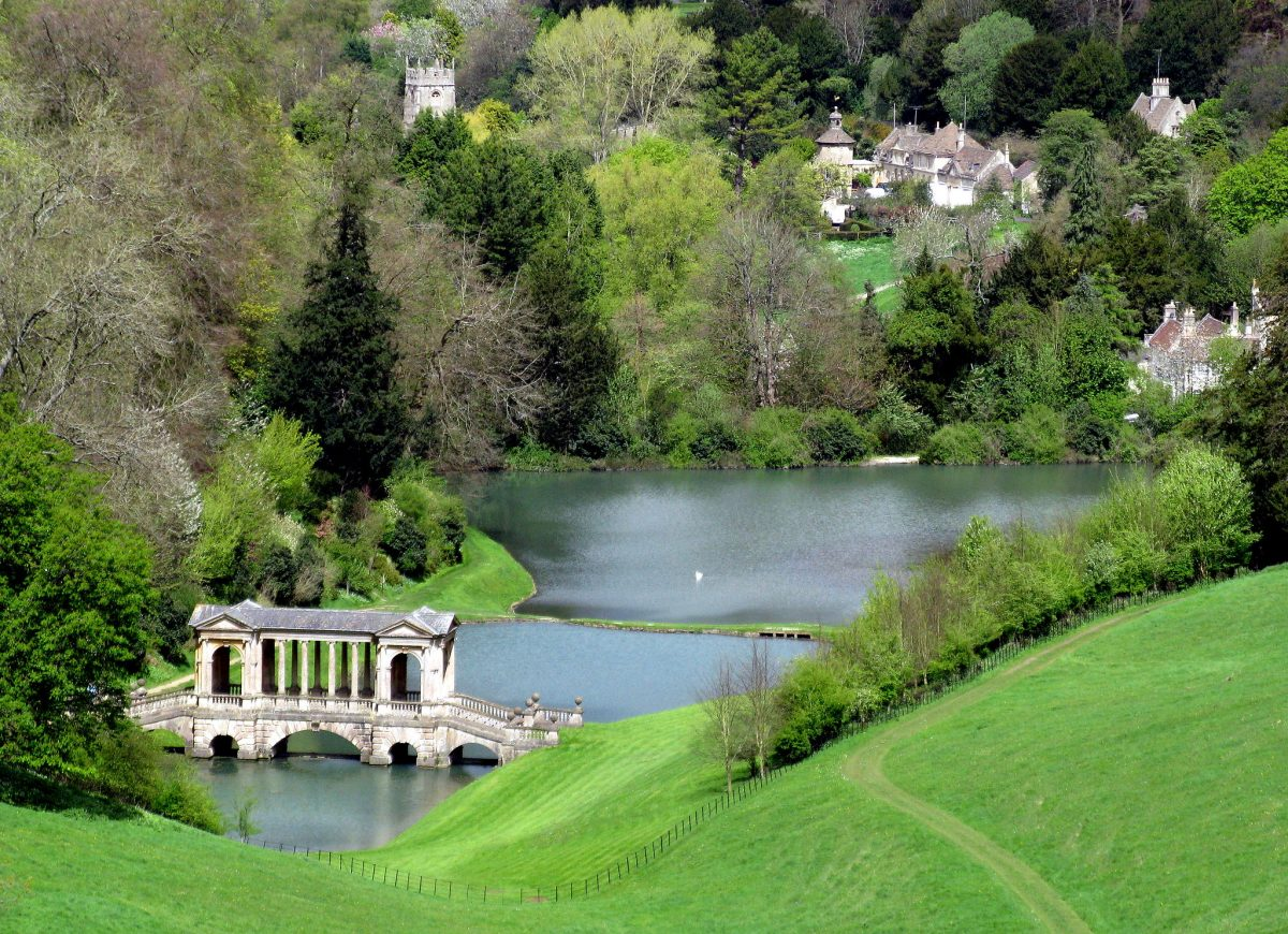 Prior Park Landscape Garden with Palladian Bridge in foreground