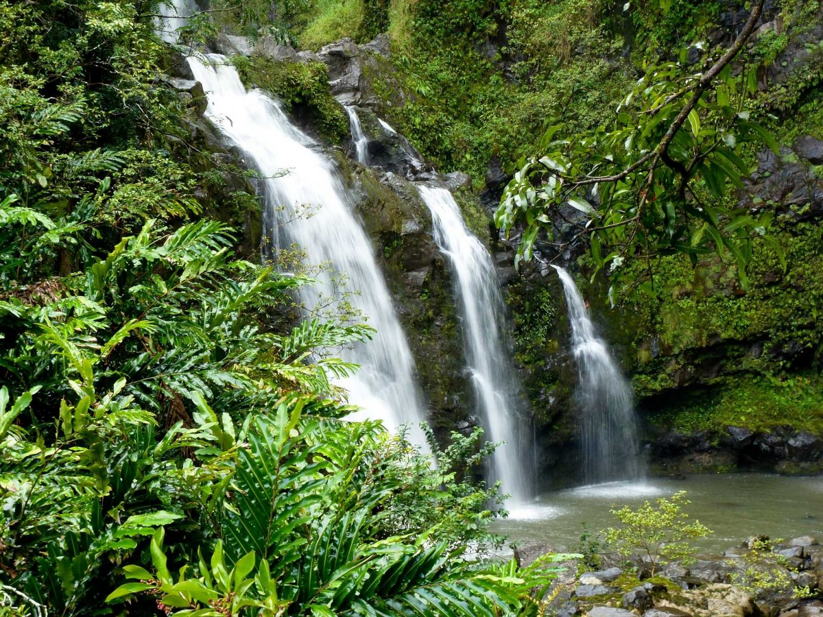 three waterfalls in a rain forest