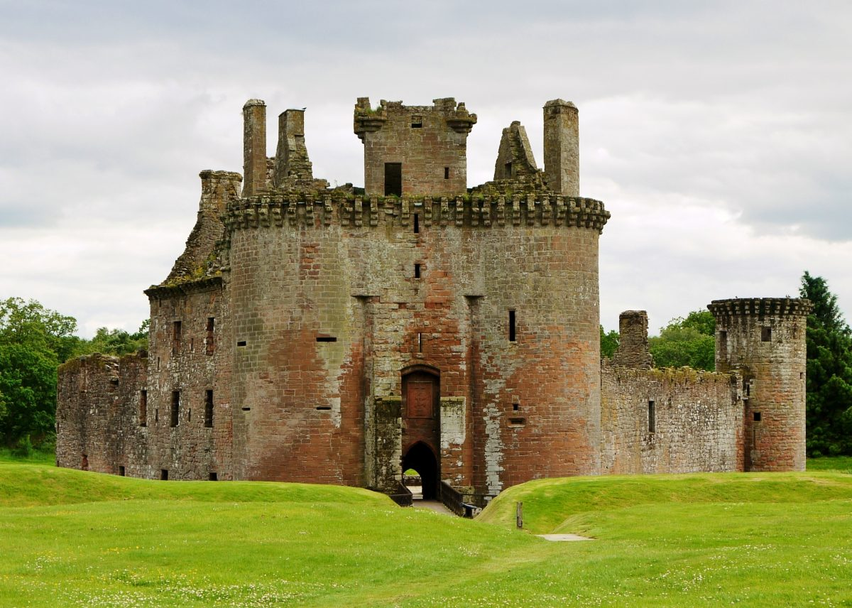In the South of Dumfries lies the very peculiar looking Caerlaverock Castle.