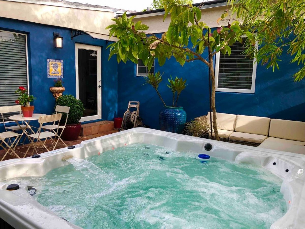The highlight of this luxurious Airbnb Miami house is definitely its jacuzzi spa