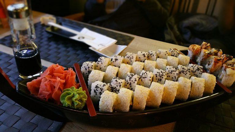 Sushi Asian Assortment Platter Maki Ginger Roll
