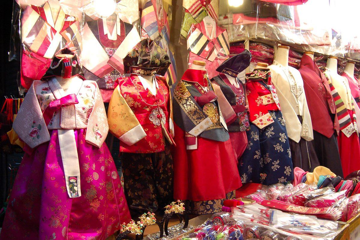 Children mini Korean hanbok for sale in a market