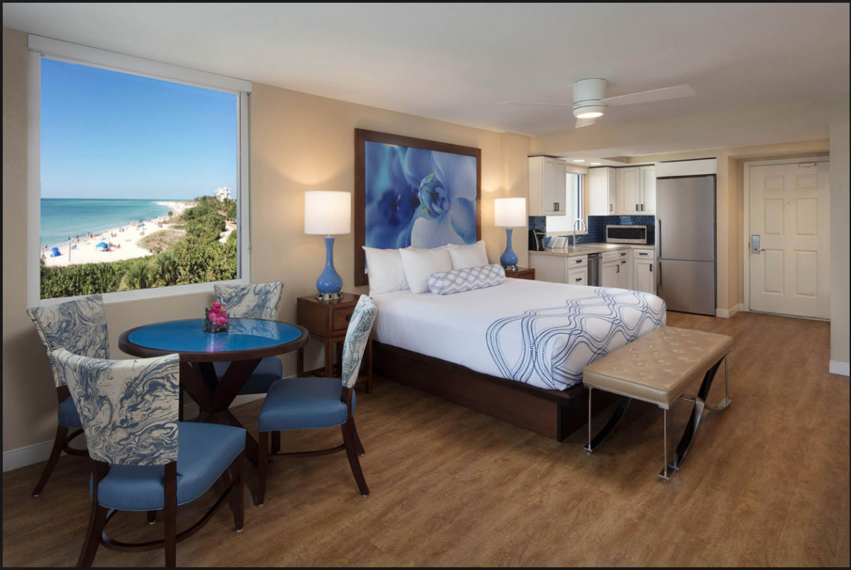 With gorgeous beachfront views, large beds and luxurious kitchen facilities, the rooms at the Lido Beach Resort may seem more like beachfront apartment than anything else