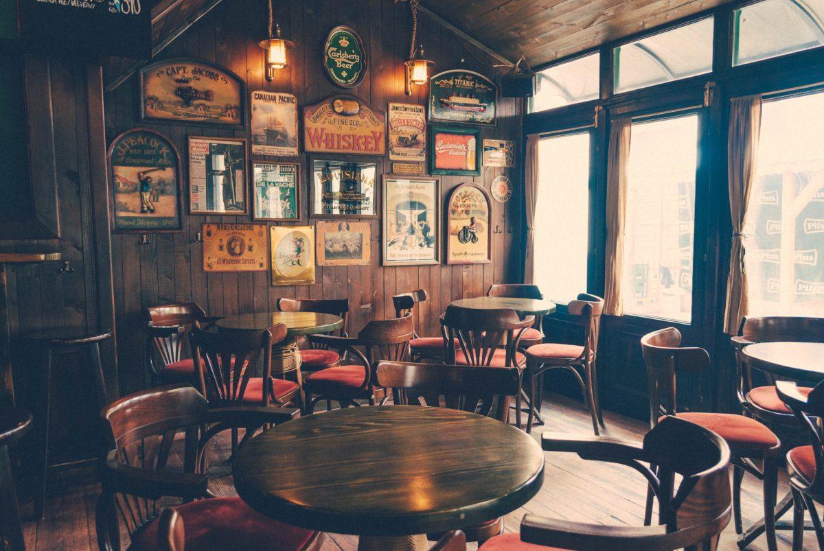 Tables and chairs at an Irish Bar