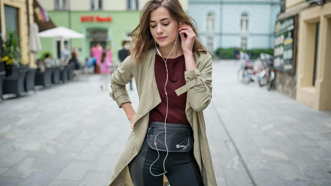 A tourist wearing a money belt