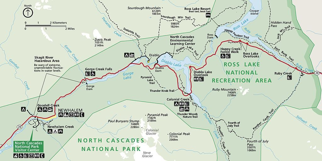 NPS north cascades highway map 1024x512 - Your Guide To The North Cascades National Park In Washington