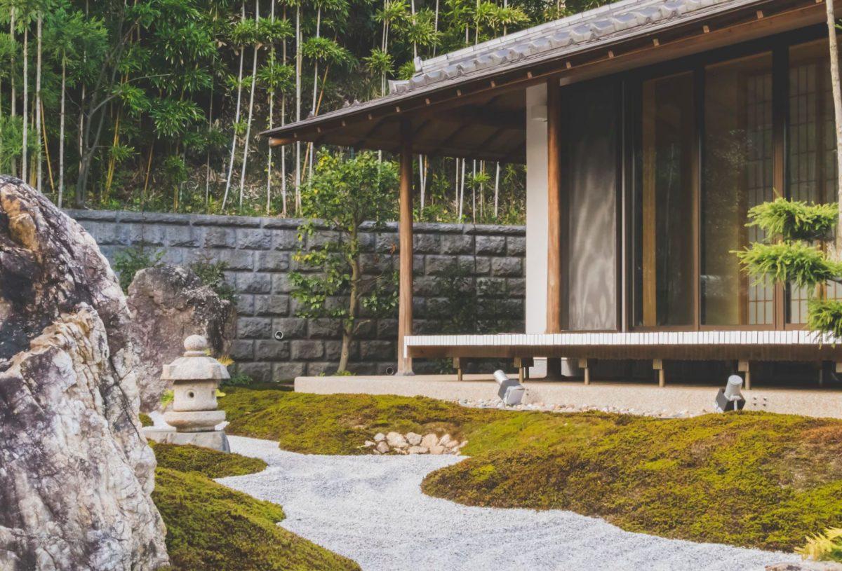 Serene Japanese onsen bath in