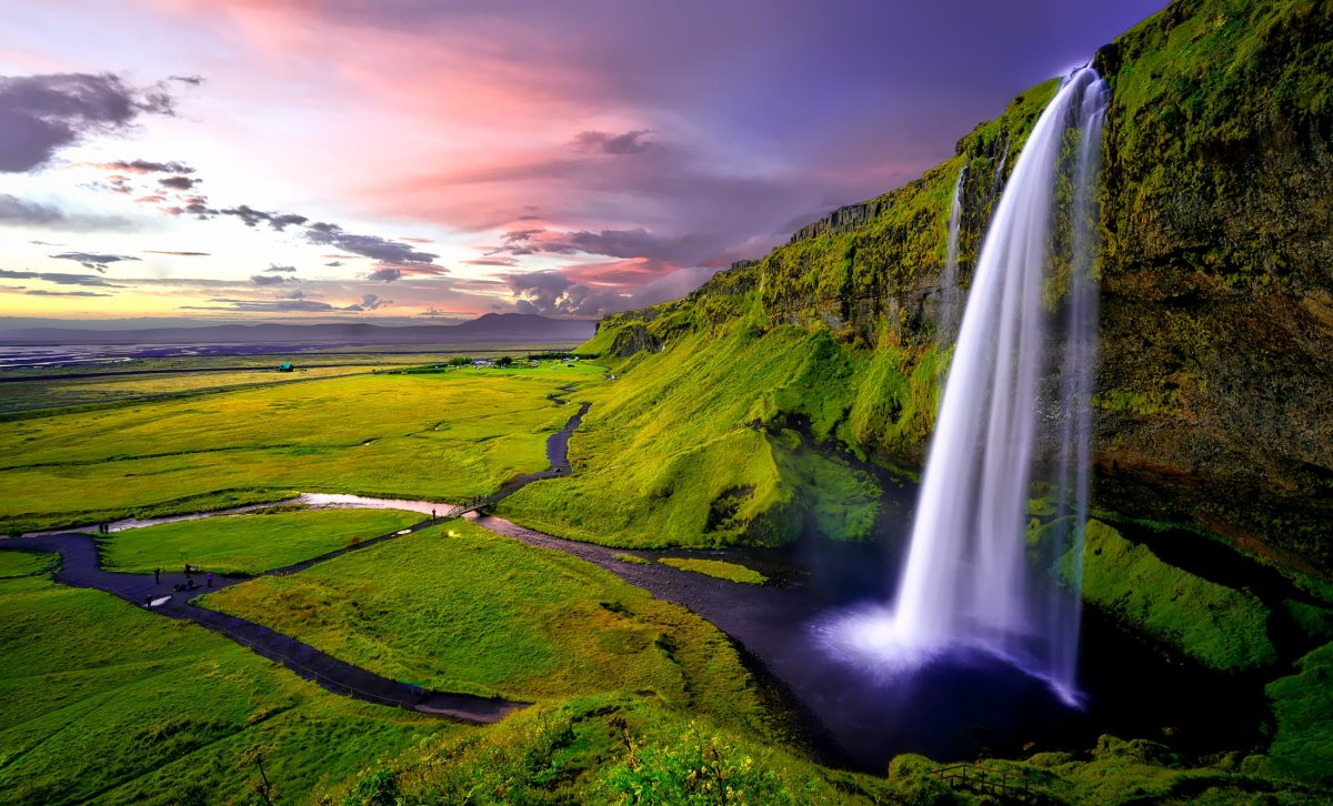 Seljalandsfoss during sunset