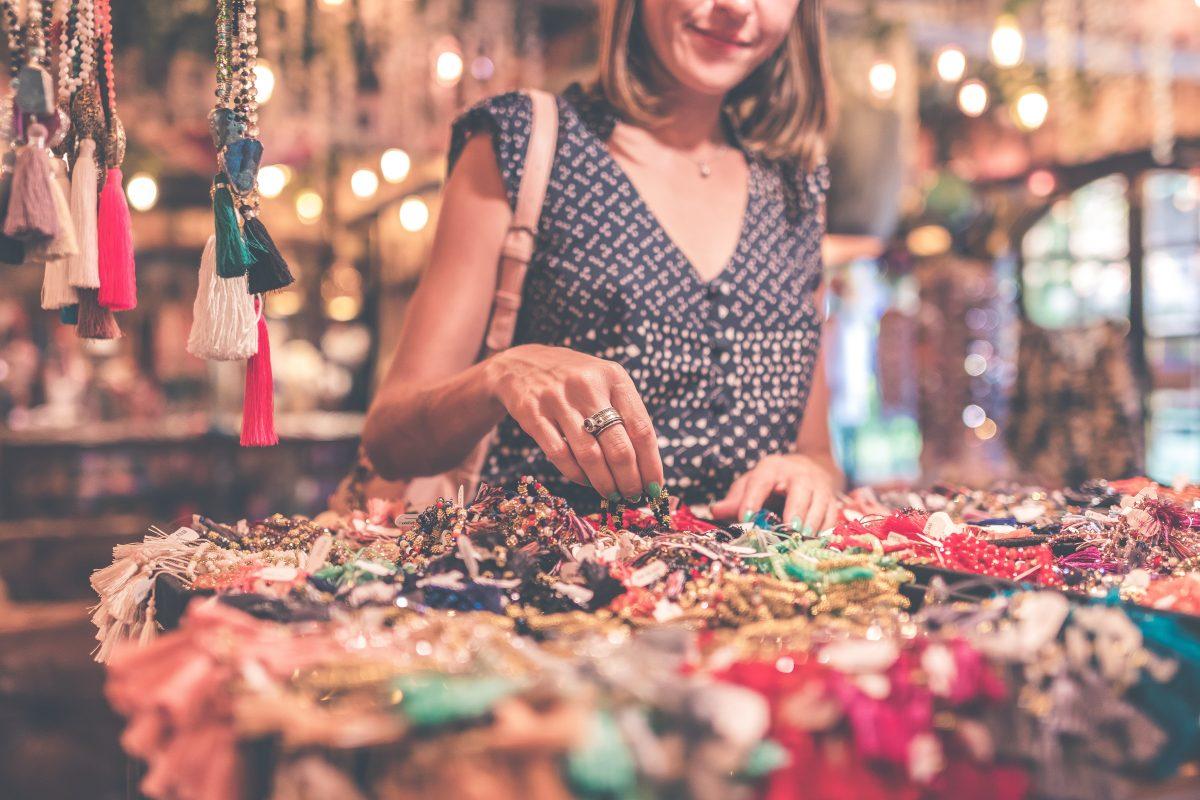 Woman browsing jewelry market