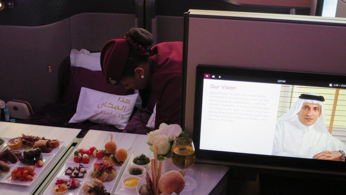 Business Class Seat at Qatar Airways