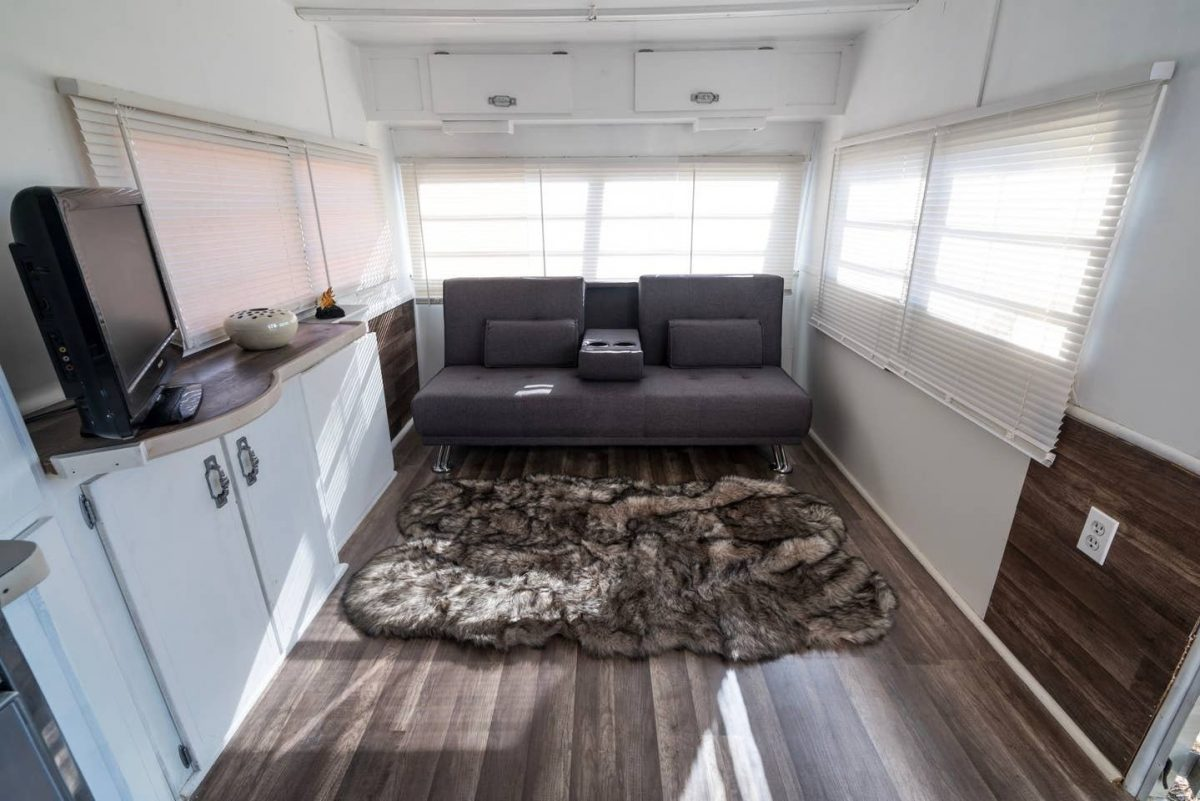 Photo of the interior of a remodelled RV Airbnb