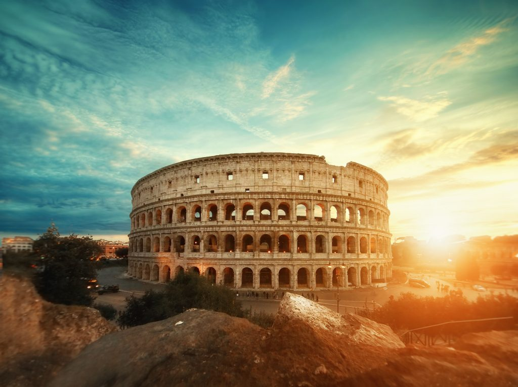 Rome Colosseum during sunset