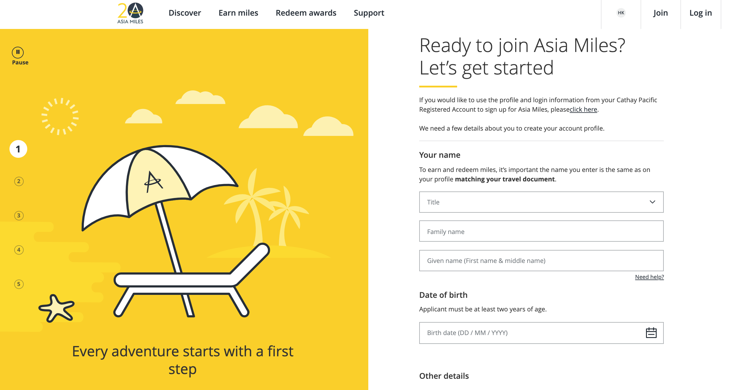 sign up for asia miles loyalty program