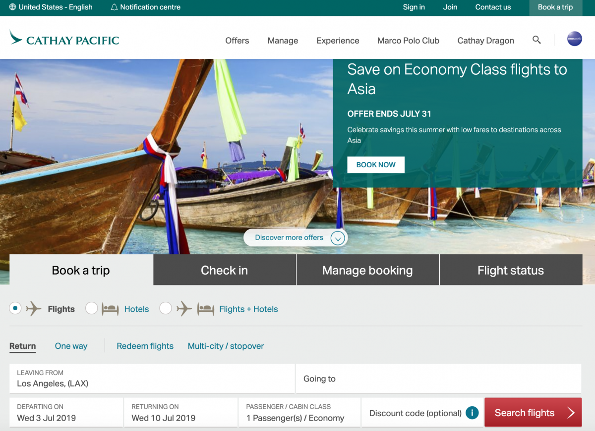 Cathay Pacific booking site