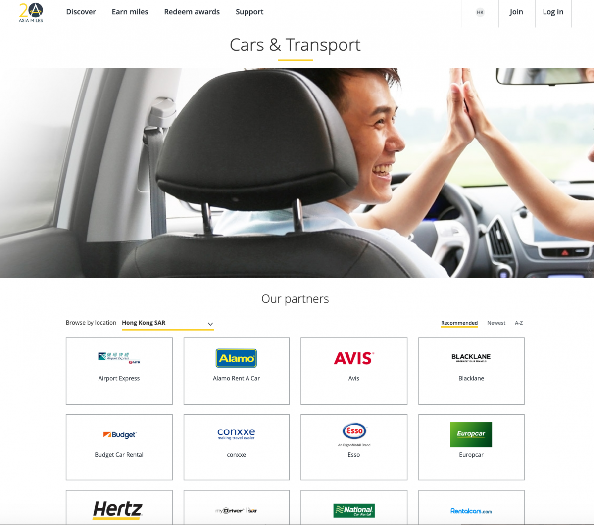 Partnering car rentals for Asia Miles