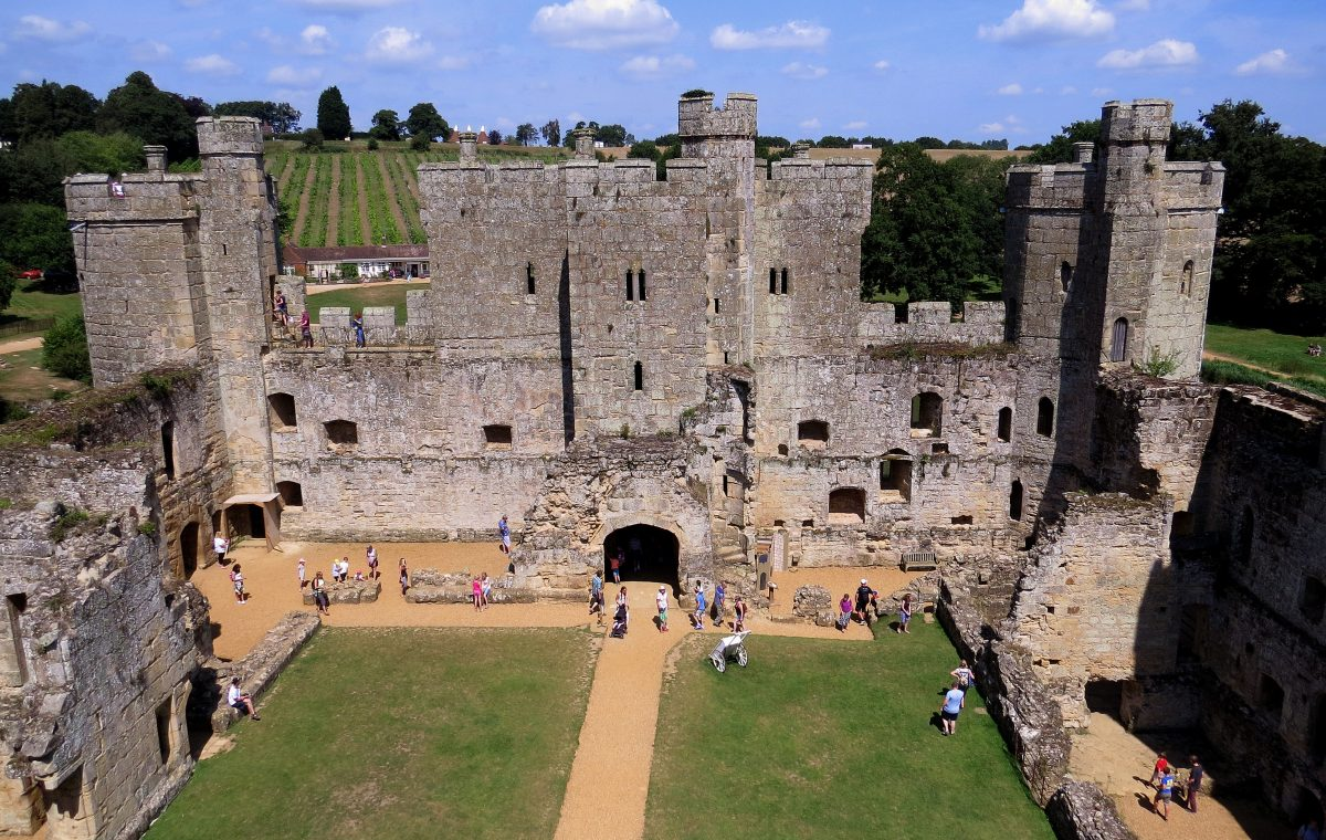 At the top of Bodiam Castle, be greeted by views of the River Rother and rolling green valleys that change with the seasons