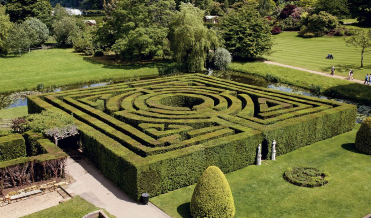 Enjoy the challenge of finding the best way out of the sculpted hedges of the 100-year old Yew Maze
