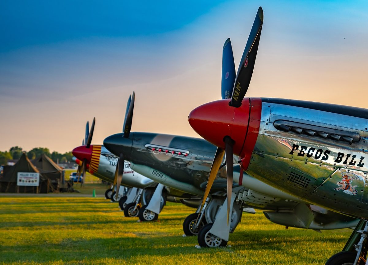 Vintage planes on display at an airshow