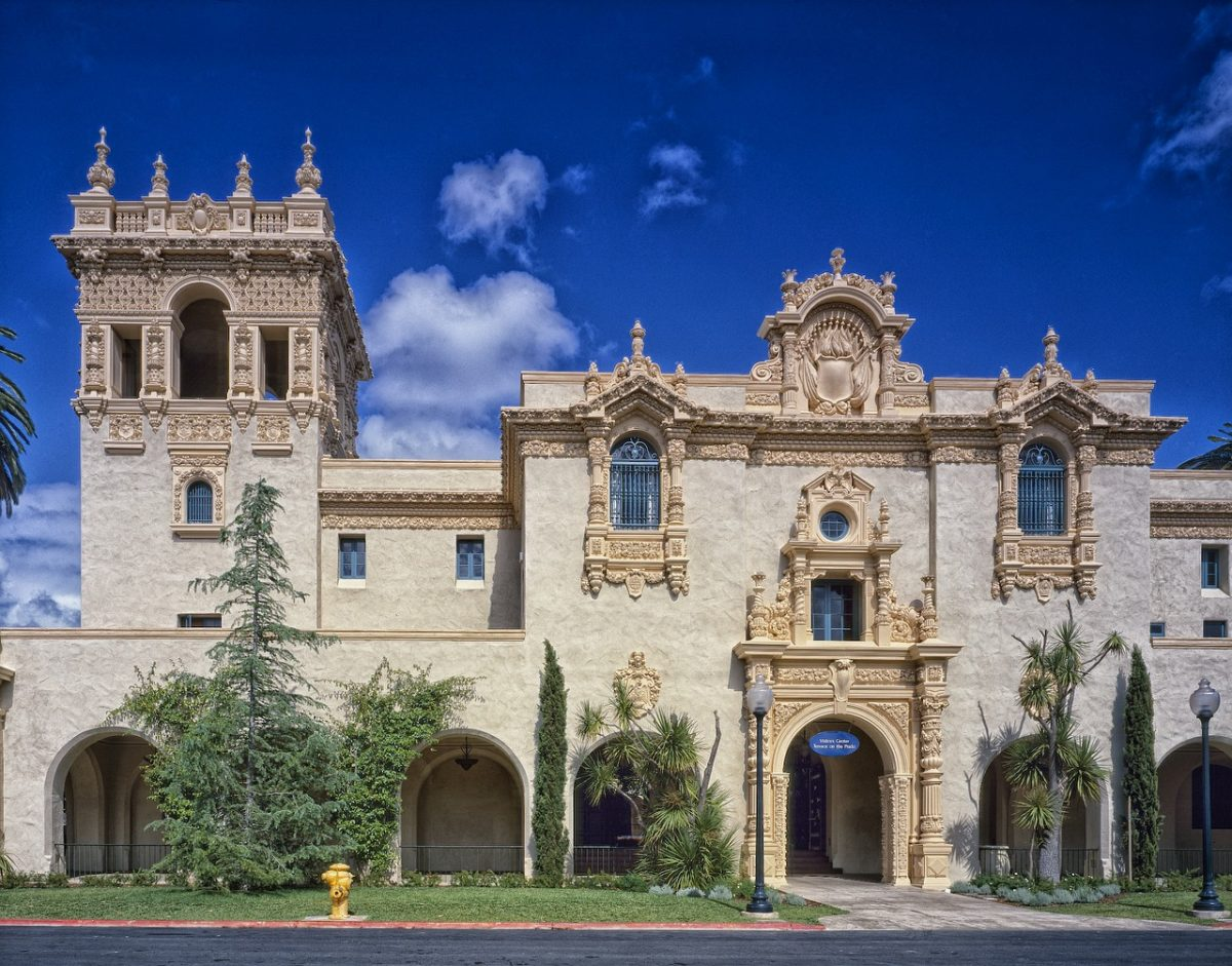 A historic Spanish style building in Balboa Park San Diego