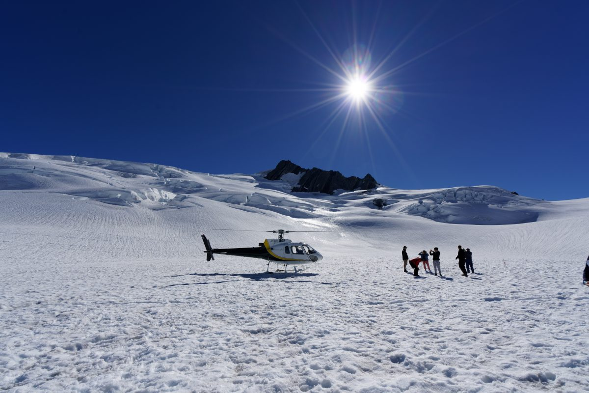 Helicopter ride to Fox Glacier New Zealand