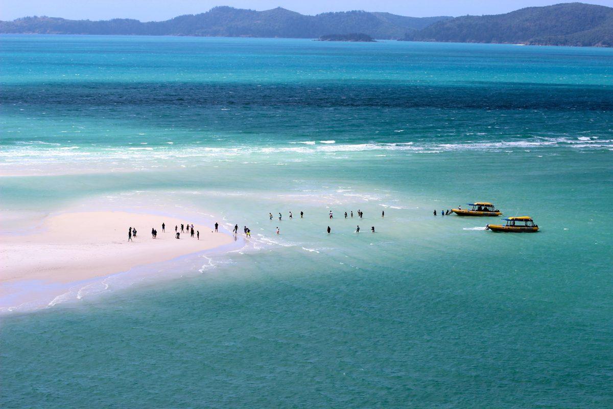 Whitehaven beach with pure white silica beach in Australia