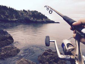 Fishing at a lake