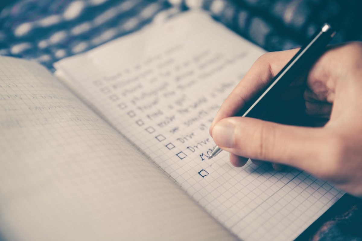 Writing down a checklist