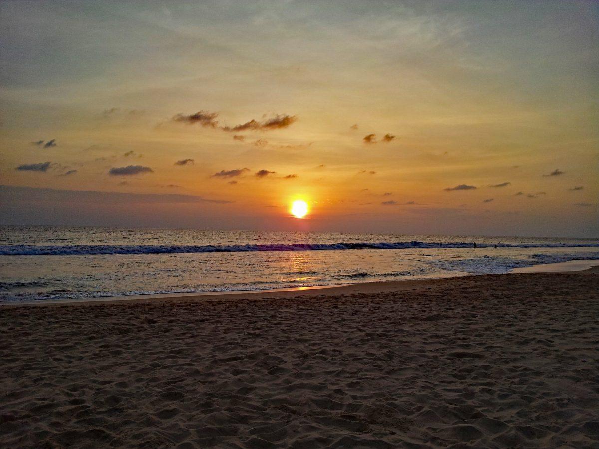 A view of the sunset in Hikkaduwa Beach, Sri Lanka