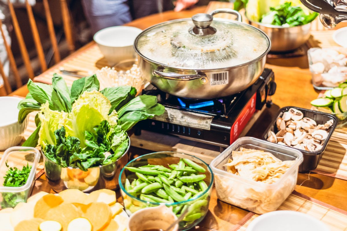 Hot pot meal in a table